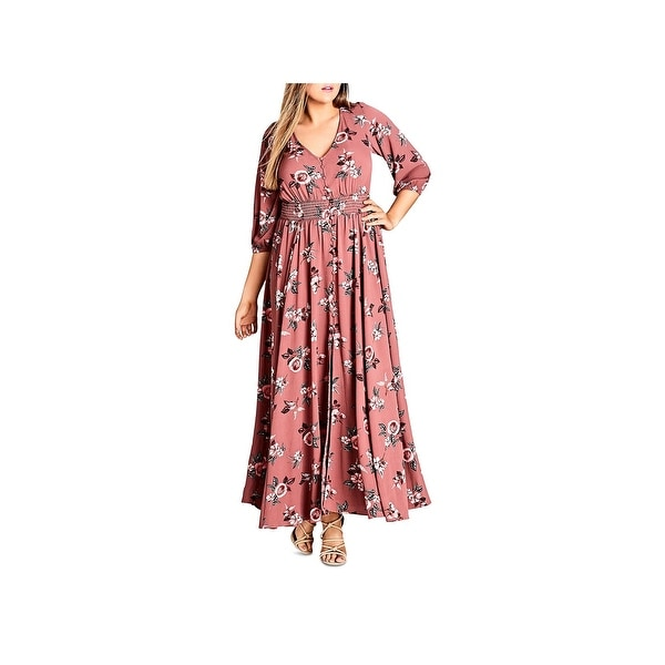 e059084fa6b91 Shop City Chic Womens Maxi Dress Floral Print Button-Down - 14 ...