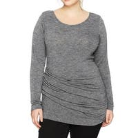 RACHEL BY RACHEL ROY Heather Gray Womens Size 1X Plus Ruched Blouse