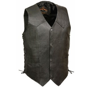 Mens Classic Side Lace Leather Biker Vest Premium Milled Cowhide