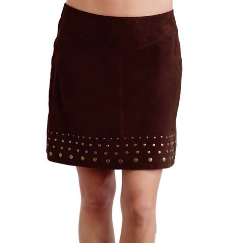 Stetson Western Skirt Womens Leather Studs 0 Brown