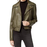 Free People Green Women's Medium M Faux-Leather Motorcycle Jacket