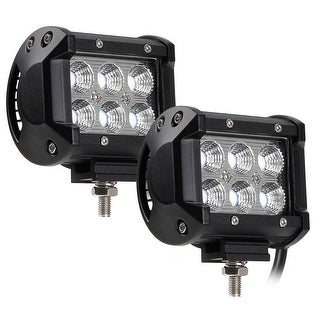 2 PACK 18W Cree LED Off-Road Work Light Bar, 1800lm 6000K IP68