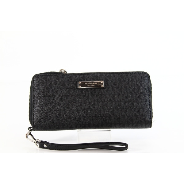 Michael Kors NEW Signature Jet Set Travel Black Clutch Wristlet Wallet