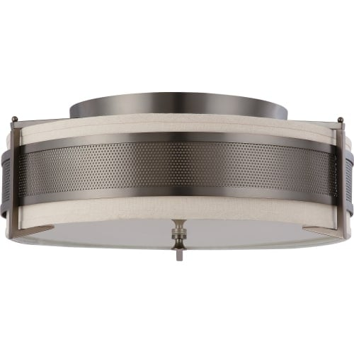 "Nuvo Lighting 60/4437 Diesel 4 Light 24"" Wide Flush Mount Drum Ceiling Fixture"