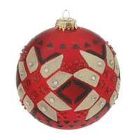 "Red Matte Jeweled Glittery Aztec Glass Ball Christmas Ornament 4"" (100mm)"