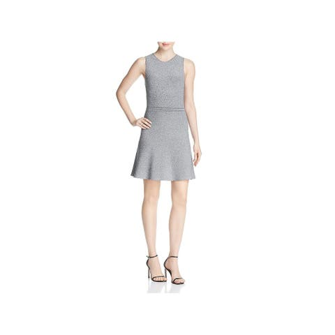 Theory Womens Scuba Dress Marled Mini - Black/White
