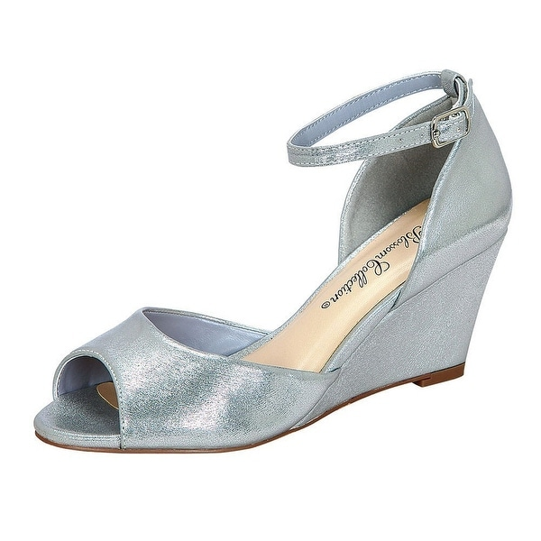 7d71d175631 Shop Adult Silver Peep Toe Buckle Ankle Strap Wedge Half-21 Sandals - Free  Shipping Today - Overstock - 19491431