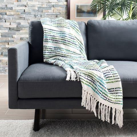 SAFAVIEH Landra Cotton Fringe Throw Blanket