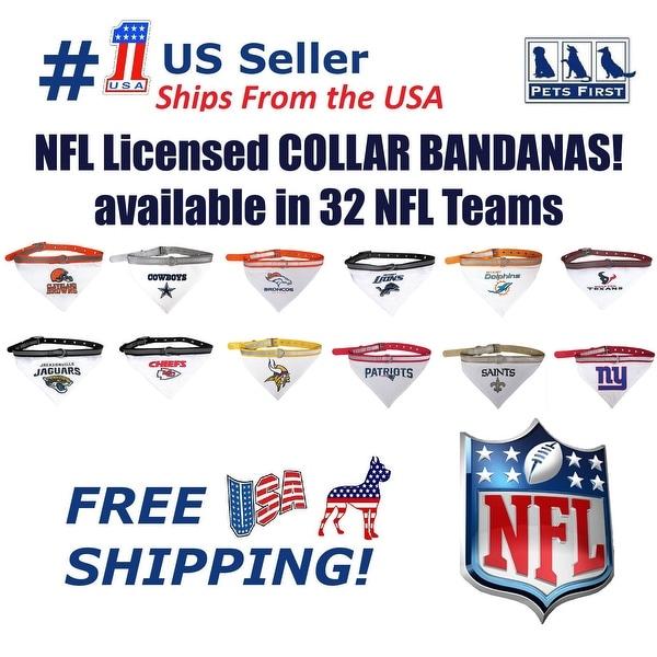 cade424fc67 Pets First NFL Dog Bandana with Collar - Licensed, Reflective, Adjustable  Pet Scarf Bandana