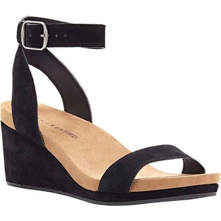 Lucky Brand Women's Karston Ankle Strap Wedge Sandal Black Suede