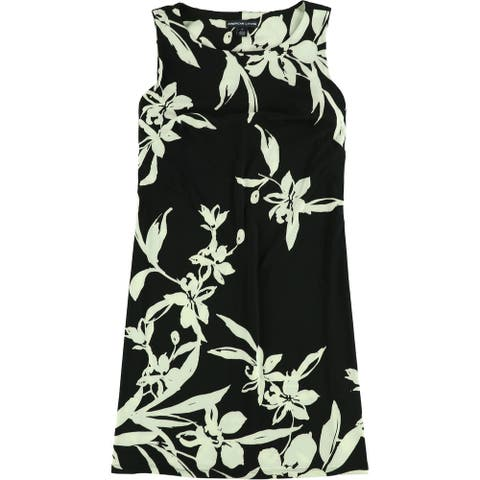 American Living Womens Floral Shift Dress, black, 18