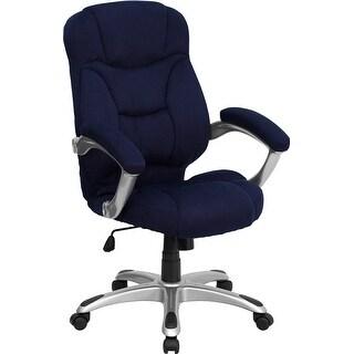 Aberdeen High-Back Navy Blue Microfiber Executive Swivel Chair w/Arms