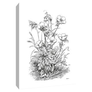 """PTM Images 9-148739  PTM Canvas Collection 10"""" x 8"""" - """"Botanical Black and White IV"""" Giclee Flowers Art Print on Canvas"""