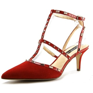 INC International Concepts Carma Women Pointed Toe Suede Red Heels