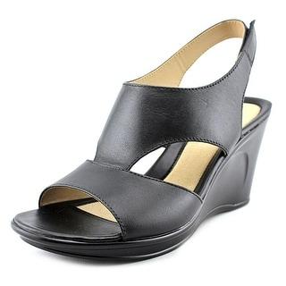Naturalizer Orrin Women  Open Toe Leather Black Wedge Heel