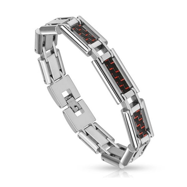 Three Red and Black Carbon Fiber Inlay Links Stainless Steel Bracelet  (13 mm) - 8.25 in