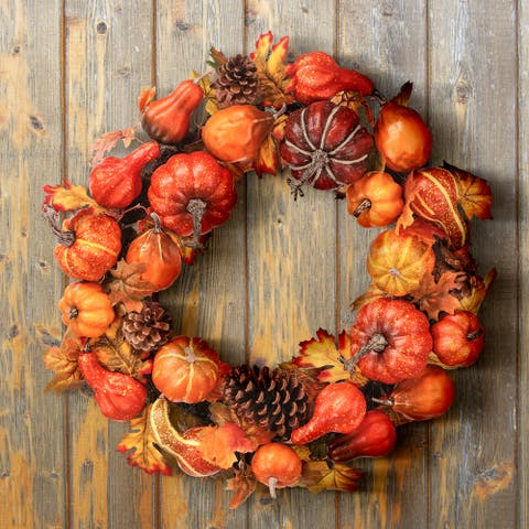 "24"" Waterproof Pumpkin/Goard Maple Leaf Wreath - 24-Inches"