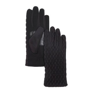 Echo Design Ladies Black Diamond Quilted Gloves Leather Trim Small / Medium