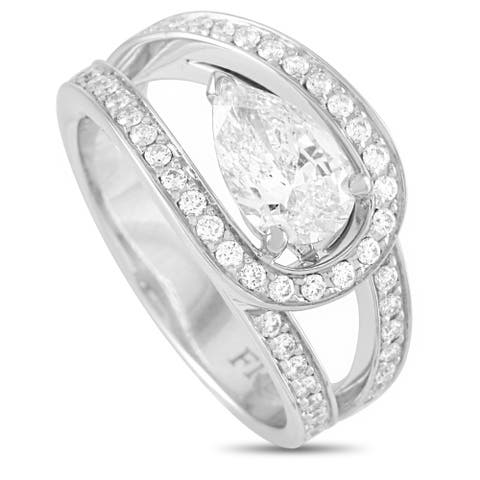 Fred of Paris Lovelight Platinum 1.59 ct Pear and Round Diamond Ring (G color, VVS2 clarity) Size 6.25