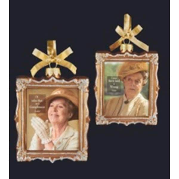"4"" Downton Abbey Gold Glass Isobel Crawley and Violet Crawley Picture Frame Christmas Ornament"