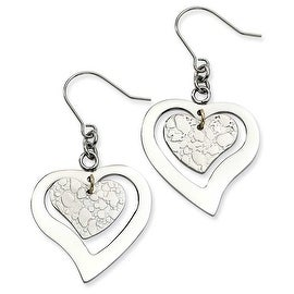 Chisel Stainless Steel Heart Dangle Earrings