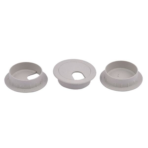 Plastic Computer Desk Round Grommet Wire Cable Hole Cover Cap Gray 3pcs