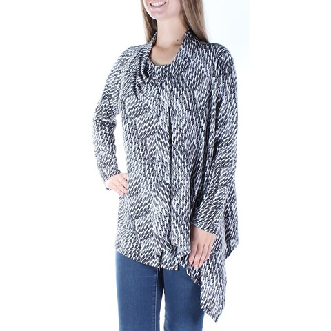 Womens Black Geometric Long Sleeve Scoop Neck Casual Top Size M