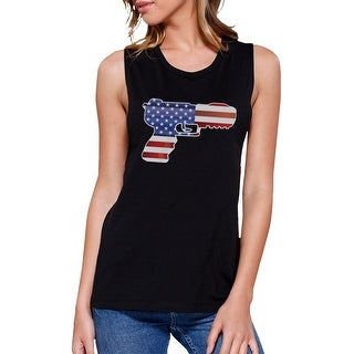 Pistol Shape American Flag Womens Muscle Top Unique Fourth Of July