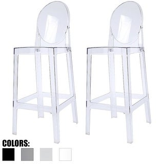 "2xhome - Set of 2 Clear Modern 30"" Seat Bar Stool Counter Height With Back Plastic Chairs For Home Restaurant Office"