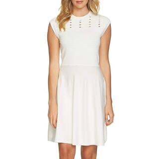 a87a6c2f69e CeCe White Women s Size Small S Fit Flare Eyelet Sweater Dress