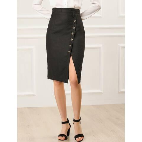 Women's Button Decor Split Belted Smocked Vintage Short Pencil Skirt