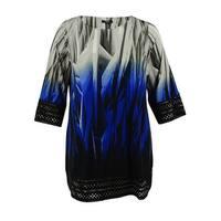 Alfani Women's 3/4 Sleeves Laser-Cut Jersey Tunic