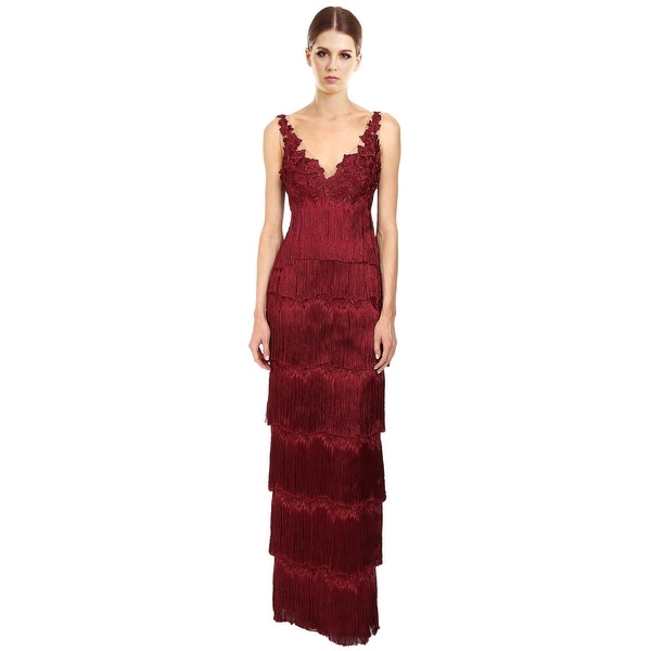 Shop Marchesa Notte Tiered Fringe Sleeveless Evening Gown Dress ...