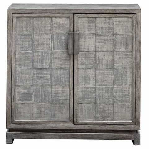 "Uttermost 25444 Hamadi 34"" Wide Wood Accent Cabinet - Warm Metallic Gray"