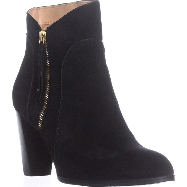 Adrienne Vittadini Taki Zip-Up Booties, Black Suede - 9 us