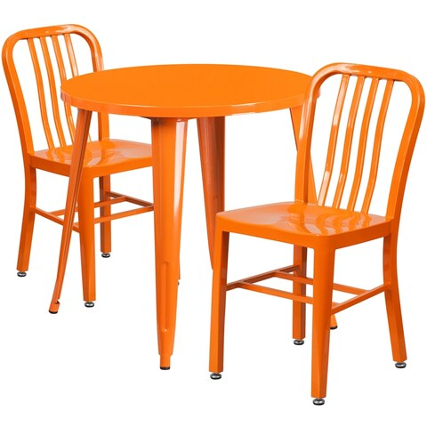 Brimmes 3pcs Round 30'' Orange Metal Table w/2 Vertical Slat Back Chairs