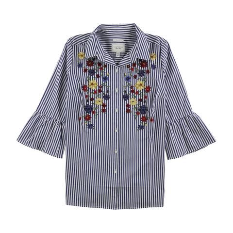 Charter Club Womens Striped Button Up Shirt, blue, 14