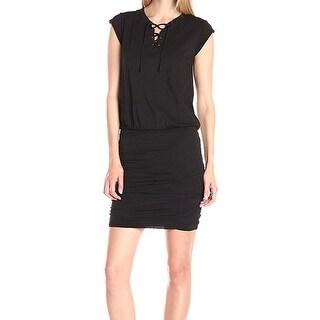 Velvet NEW Black Womens Large L Lace-Up Blouson Smocked Shirt Dress