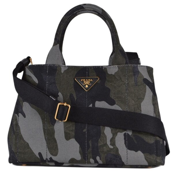 a17adf898e76 Prada 1BG155 Canapa Stamp Camouflage Print Convertible Handbag Hobo Tote -  Multi