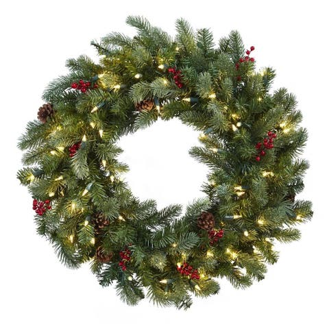 """Nearly Natural 30"""" Lighted Pine Wreath With Berries & Pine Cones"""
