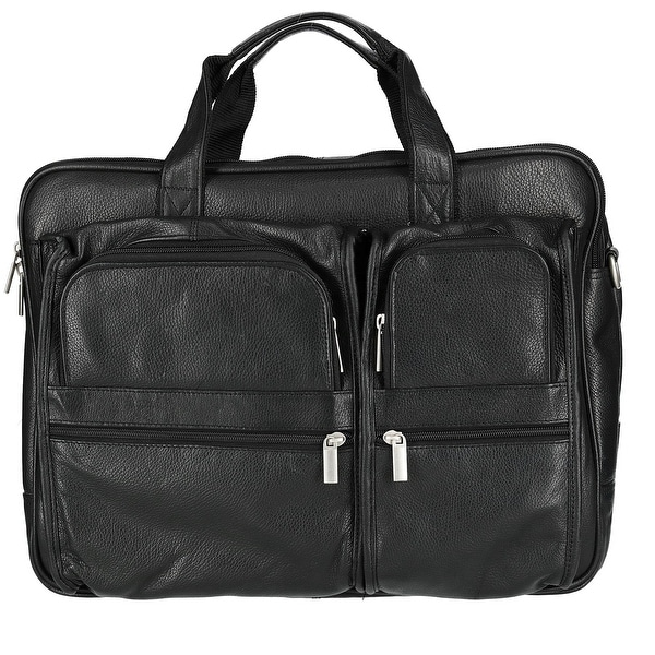 eb43a6a92786 Shop CTM® Men's Tumble Leather Double Gusset Briefcase with Laptop ...