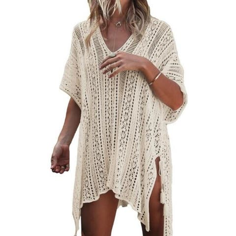 Women's V-Neck Hollow Out Swimwear Swimsuit Cover Up Loose Knitted Beach Dresses - one size