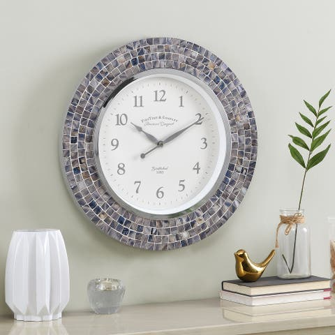 FirsTime & Co.® Vivien Blue Pearl Mosaic Clock, American Crafted, Blue Pearl, Plastic, 19.5 x 1.63 x 19.5 in