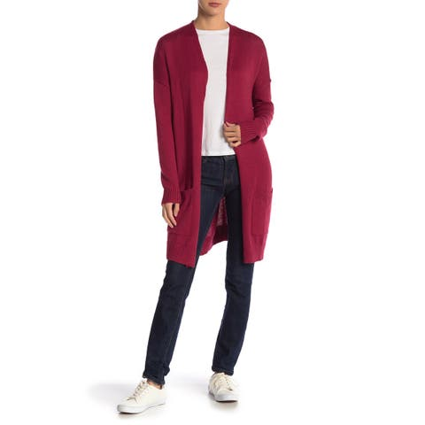 ABOUND Red Rumba Womens Size Medium M Pockets Long Knit Cardigan