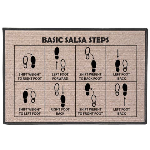 "WHAT ON EARTH Salsa Steps Doormat Welcome Mat, Rugged Olefin, 27"" x 18"" - Beige"