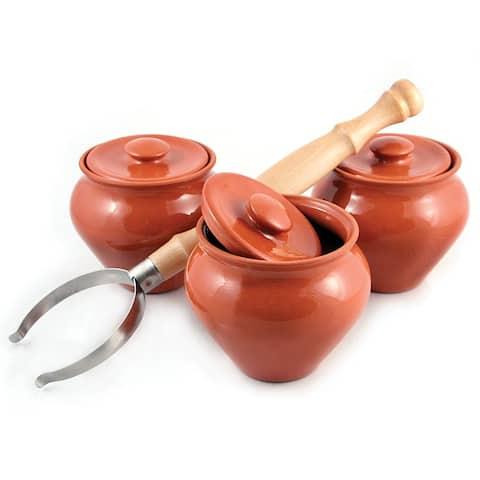 STP-Goods 3-pc Stoneware Ramekins & Oven Fork Set