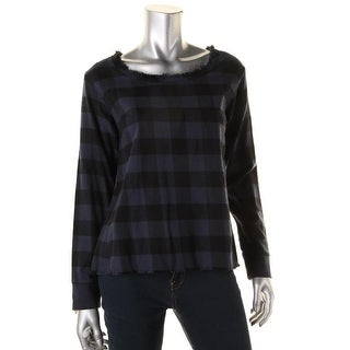 Alternative Apparel Womens Fringe Plaid Pullover Top - S