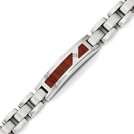 Chisel Stainless Steel Brushed & Polished with Wood Inlay and CZ Bracelet