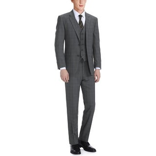Link to Men's 3-Piece Classic Fit Single Breasted Windowpane Suit Similar Items in Suits & Suit Separates
