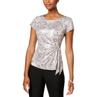 MSK Womens Petites Fitted Top Side Tie Sequined
